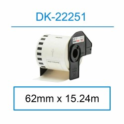 Compatible Brother DK-22251 Continuous Paper Labelling Tape 62mm x 15.25m Black/Red