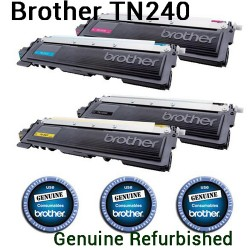 Genuine Refurbished Brother TN240 TN-240 BK/C/M/Y Toner Cartridge
