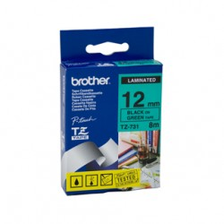 Brother 12mm Black Text On Green Tape - 8 metres Tonerink Brand Tonerink Brand
