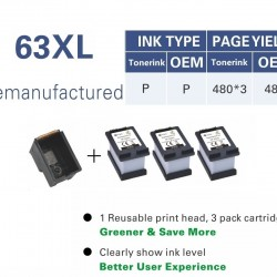 HP 63XL ink Cartridge Compatible ecosave equals to 3* XL cartridge