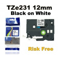 Brother TZe231 12mm Black Text On White Tape - 8 metres Tonerink Brand